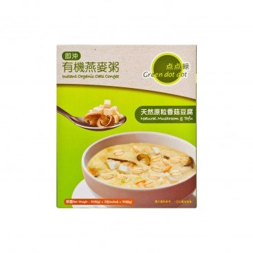 GREEN DOT DOT Instant Organic Oats Congee natural Mushroom Tofu 30GX3