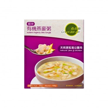 GREEN DOT DOT Instant Organic Oats Congee natural Yam Chicken 30GX3