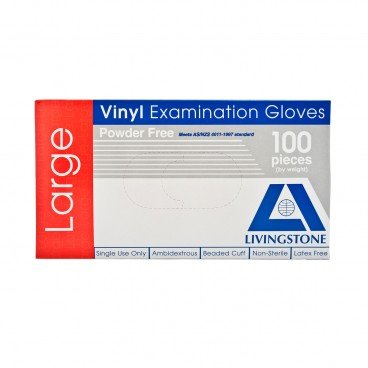 LIVINGSTONE Powder Free Vinyl Examination Gloves L 100'S