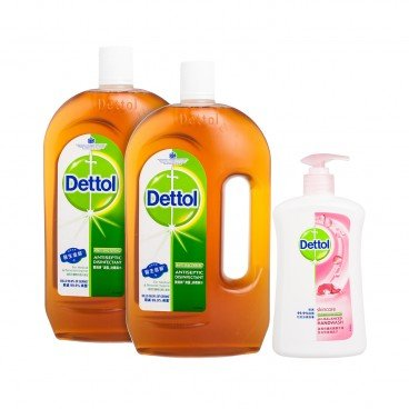 DETTOL - Antiseptic Liquid twin Pack With Hand Wash Skincare - 1.2LX2+500G
