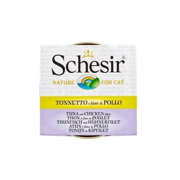 SCHESIR Tuna With Chicken And Fish Soup Tin cat 70G