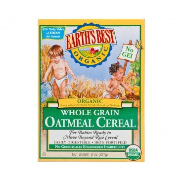 EARTH'S BEST Organic Whole Grain Oatmeal Cereal 227G