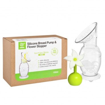 HAAKAA Silicone Breast Pump With Silicone Flower Stopper Set white PC