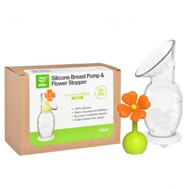 HAAKAA Silicone Breast Pump With Silicone Flower Stopper Set orange PC