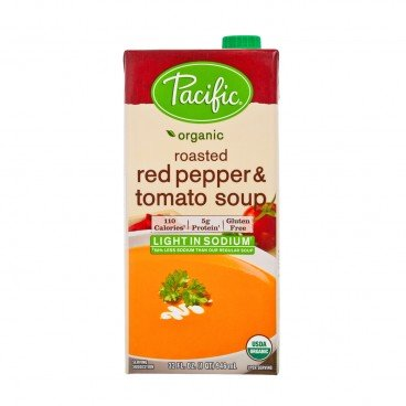 PACIFIC Organic Roasted Red Pepper Tomato Soup light Sodium 946ML