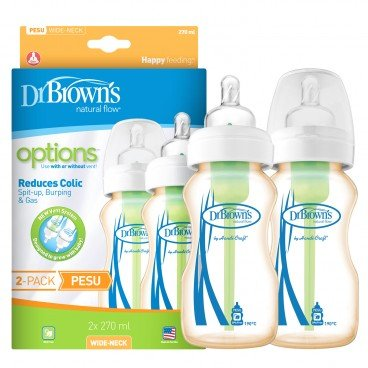 DR. BROWN'S - 9 oz Options Wide neck Pesu Bottle - SET