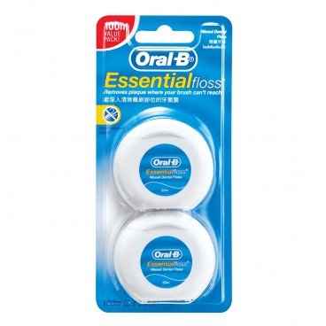 ORAL B Essential Floss Waxed 50 m Twin Pack 2'S