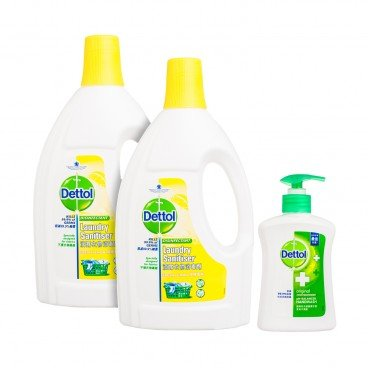 DETTOL - Laundry Sanitiser Fresh Lemon Twinpack With Premium - 1.2LX2+500G