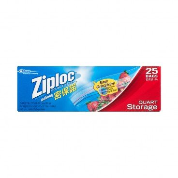 ZIPLOC Storage Bag quart 25'S