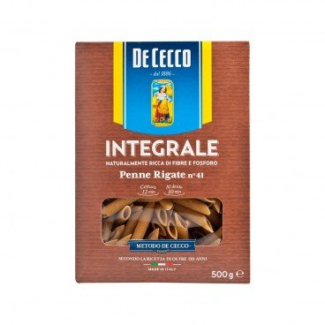 DE CECCO Whole Wheat Penne Rigate 500G