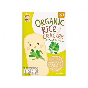 APPLE MONKEY Organic Dha Rice Cracker spinach 30G