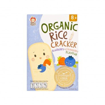 APPLE MONKEY Organic Dha Rice Cracker blueberry  Strawberry 30G
