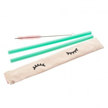 SET-SILICON STRAW-THICK STRAW-GREEN