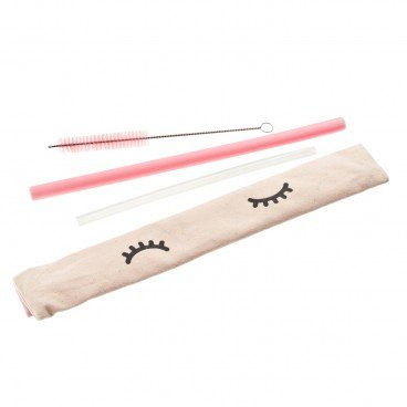 CHECKCHECKCIN - Set silicon Straw pink Thick clear Thin - SET