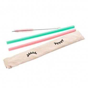 CHECKCHECKCIN Set silicon Straw thick Straw pink Green SET