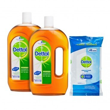 DETTOL Antiseptic Liquid Twin Pack  Wipes SET