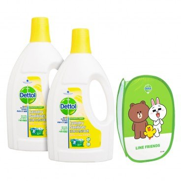 DETTOL Laundry Sanitiser Lemon Twin Pack Free Line Washing Bag 1.2LX2