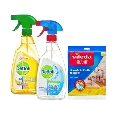 DETTOL Surface Cleanser Twin Pack Free Surface Cloth SET