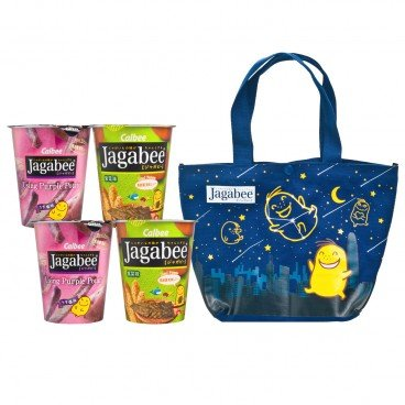 CALBEE Jagabee Potato Chips Bag Mixed 4 cup Pack purple Potato Seaweed Flavoured 152G