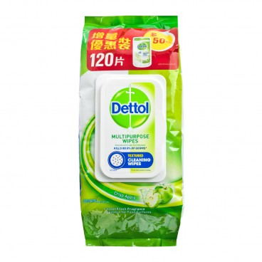 DETTOL - Anti bacterial Multi purpose Wet Wipes Green Apple - 120'S