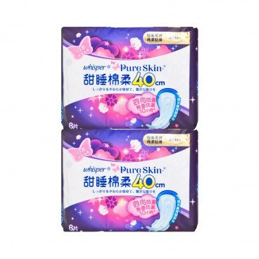 WHISPER - Pure Skin Overnight 40 cm Twin Pack - 8'SX2