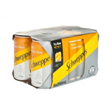 SCHWEPPES - Spicy Ginger Beer Soda Ginger Flavored Mini Can - 200MLX6