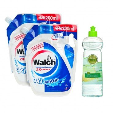 WALCH Concentrated Detergent Pack Fresh Dishwashing Detergent Ultra Concentrated lemon Grass 2LX2+500G