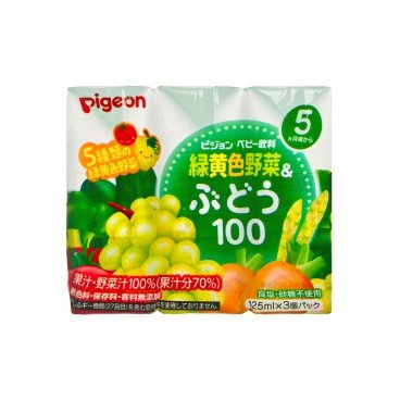 PIGEON - 5 Kinds Green Yellow Vegetable Grape Juice - 125MLX3