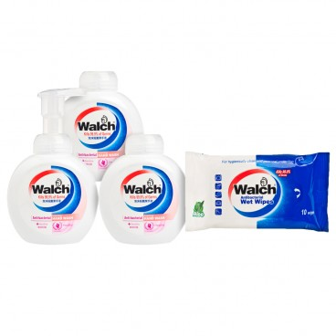 WALCH - Antibacterial Foaming Hand Wash sensitive Value Pack free Wet Wipes - 300MLX3+10'S