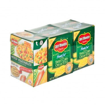 DEL MONTE - Cream Style Corn X 4 mixed Vegetable Family Pack - 380GX4+380G