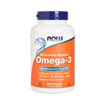 NOW FOODS - Omega 3 1000 mg Softgels - 200'S