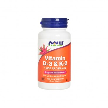 NOW FOODS - Vitamin D 3 K 2 Veg Capsules - 120'S