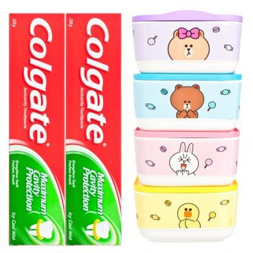 COLGATE - Dental Cream Double Pack icy Cool Mint Free Line Friends Candy Box random - 250GX2