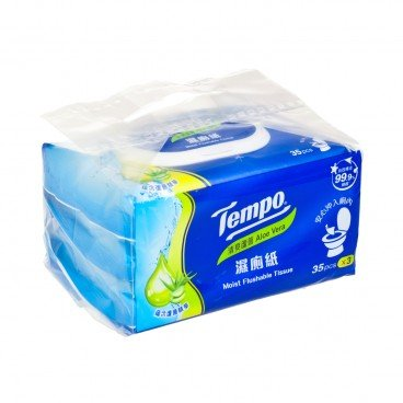 TEMPO得寶 - Moist Flushable Tissue aloe Vera - 35'SX3