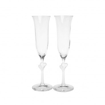 BOTTEGA - Stolzle Lausitz L amour Sparkling Wine Flutes With White Hearts - 2'S