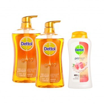 DETTOL - Gold Anti Bacterial Body Wash twinpack With Peach Bw classic Clean - 625GX2+250G