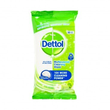 DETTOL(PARALLEL IMPORT) - Power Fresh Multi Purpose Cleaning Wipes green Apple - 32'S