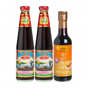 LEE KUM KEE - Premium Oyster Sauce savory Seafood Soy Sauce - 510GX2+500ML