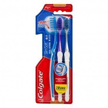 COLGATE - Slim Soft Dual Action Compact Head Toothbrush - 3'S