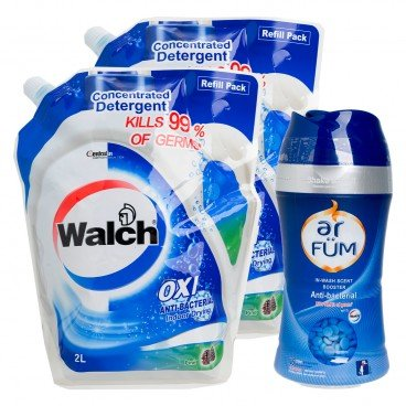 WALCH - Anti bacterial Laundry Detergent Pine Refill Bag Twin Pack Free Ar Fum Anti bacterial In wash Scent Booster 150 g - 2LX2+150G
