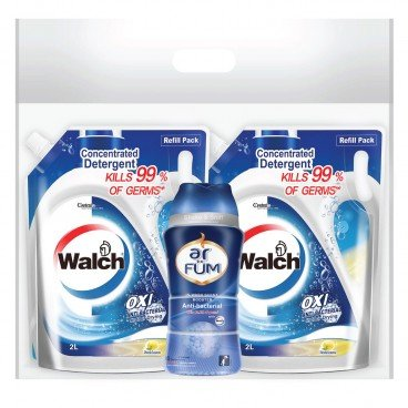WALCH - Anti bacterial Laundry Detergent Lemon Refill Bag Twin Pack Free Ar Fum Anti bacterial In wash Scent Booster 150 g - 2LX2+150G