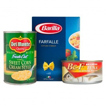 DIY COMBO-TUNA FARFALLE WITH CREAM CORN SAUCE