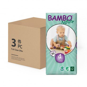 BAMBO NATURE - Eco Friendly Baby Diapers medium Size 4 - 60'SX3