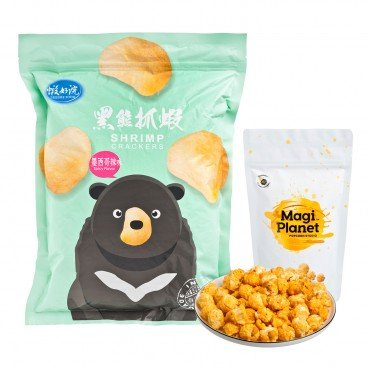 SET-TAIWAN POPCORN-CARAMEL SALTED EGG & SHRIMP CRACKERS-SPICY