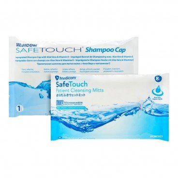 MEDICOM - Safetouch Shampoo Cap Patient Cleansing Mitts Bundle - SET