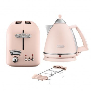 DE'LONGHI Argento Flora Series Water Kettle Toaster Set peony Rose SET