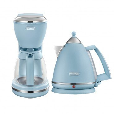DE'LONGHI Argento Flora Series Water Kettle Drip Coffee Maker Set agave Blue SET