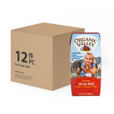 ORGANIC VALLEY Organic Whole Milk case 200MLX12
