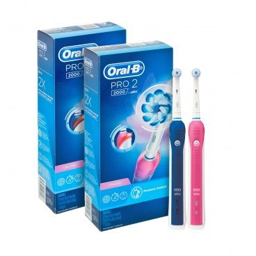 ORAL B Pro 2000 Power Brush pink Blue 2'S