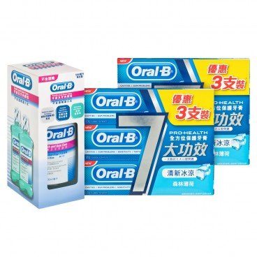 ORAL B - Pro health All round Protection Tooth Paste T g Rinse A f Bundle - 120GX6+500MLX2